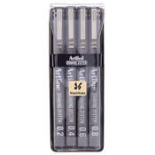 5x Artline 230 Drawing System Black pen Acid free graphic 0.1 0.2 0.3 0.4 0.5mm